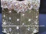 Rectángulo cristalino del tejido del Rhinestone del tubo de almacenaje del Rhinestone del sostenedor de la pluma de la PU del oro de la etiqueta engomada (TB-oro)