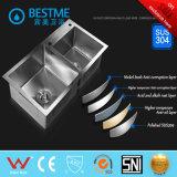 Bassins 8546A d'acier de Satinless du bassin 304 de lavage de vaisselle de cuisine