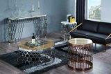 Tavolino da salotto di marmo rotondo con il blocco per grafici dell'acciaio inossidabile