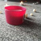 Vela de cristal del tarro del pequeño Europa amarillo rosado con la etiqueta engomada personalizada