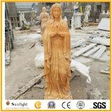Natuurlijk Gouden /White die Steen Marmeren Maagdelijke Mary Statue voor Godsdienstig Beeldhouwwerk snijden
