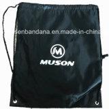 OEMはロゴによって印刷された210dポリエステル黒のドローストリング袋のバックパックの予算Gymsacをカスタマイズした