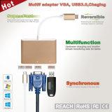 Lega di alluminio dell'adattatore di USB-C con il USB C della Multi-Porta, + 2k VGA (30Hz) + porte del USB 3.1
