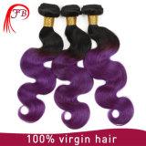 Ombre 브라질 Virgin Remy 연장을 길쌈하는 2개의 색깔 싼 머리