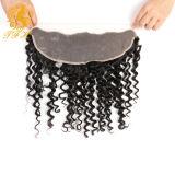 человеческих волос закрытия 13*4 шнурка девственницы 7A ухо закрытия монгольских глубоких курчавых прифронтовых дешевых Unprocessed прифронтовое к уху с волосами младенца