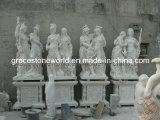 Grande statua di marmo bianca naturale del guerriero