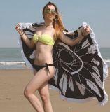 Tovagliolo di spiaggia multifunzionale di Microfiber di disegno della piuma di 100%
