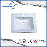 Lavatório de banheiro Vanity Countertop Polymarble Wash Hand Square Basin