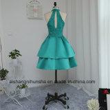 A - Zeile hohe Muffe Knie-Länge abgestuftes wulstiges Spitze-Cocktail-Abschlussball-Kleid