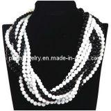 El verano de Bisutería Abalorio acrílico blanco y negro Collar de perlas para las mujeres (PN-071)
