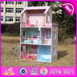 2014 Top New Cute Kids Popular Lovely Children Fashion DIY Wooden Doll House para Idade 3+