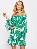 Konnte Frauen Bardot Krause-Ordnungs-Dschungel-Drucken-Kleider schultern