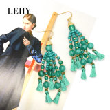 Femme Mode bijoux Custom Tassel Acrylic-Beads Drop Earrings avec