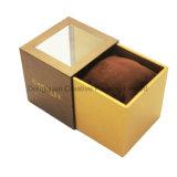 Rectángulo de regalo de papel de lujo del reloj de Brown con la ventana del PVC