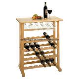 Cremagliera Winsome del vino di legno 24-Bottle con il supporto di vetro del vino della cremagliera