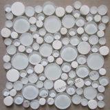 Circular de color blanco mezclado mosaico de piedra de cristal