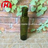 Frasco de petróleo verde-oliva redondo de vidro, obscuridade - frasco de petróleo da azeitona verde