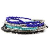 Geplaatste Armbanden van de Parel van de Rek Seedbead van Bohemen de Marineblauwe Zwarte Elastische
