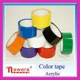 Bande adhésive à simple face d'emballage de la couleur BOPP de vente chaude