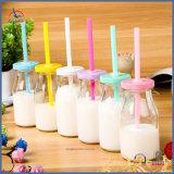 Vidrio Mini botellas de leche para el pudín con paja