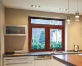 Finestra di alluminio placcata di legno della stoffa per tendine del telaio di stile europeo doppia per la Camera residenziale