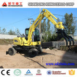 Excavador caliente de la rueda de China 6t 7t 8t 12t 14t mini, compartimiento de 4X4wd 0.25cbm, excavadores baratos del precio de la mejor calidad