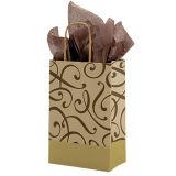 習慣によって印刷されるクラフト紙のショッピング・バッグ小さいチョコレート及びクラフトの渦巻のペーパー買物客