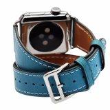 Tour dupla faixa de relógio em pele genuína Bracelete Alça para vigilância da Apple