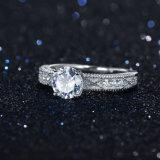 Placcatura cubica del Rhodium di Zircon del AAA dei monili all'ingrosso lei e sua anello di cerimonia nuziale sterlina d'argento di modo dell'anello di fidanzamento 925 di promessa (533633671409)