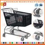 Portée en plastique de bébé moulée par chariot de chariot à achats de supermarché en métal (Zht184)