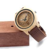 Relógio de madeira da fibra do carbono do Mens superior de vidro de couro do indicador