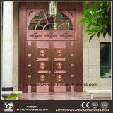 Le cuivre général Entrée principale de style du panneau de verre porte en cuivre