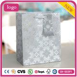 Bolsas de papel negras del regalo del ornamento de la ropa del gris de plata del modelo