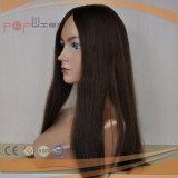 Peluca de los primeros superiores de Brown oscuro de la piel del pelo humano media (PPG-l-0979)