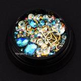 El clavo multicolor chispeante estupendo de la decoración cristalina del arte del clavo del Rhinestone 3D de la alta calidad rebordea la piedra