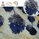 Цветастая ткань венчания вышивки полиэфира шнурка Sequin F135