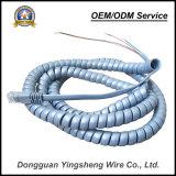 Câble spiralé de ressort de câble de PVC de Pur de qualité pour le téléphone