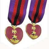 3D Medaille van het Metaal van de Vorm van het Hart van het Embleem van de Ster Goud Geplateerde