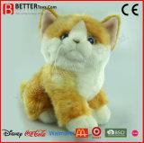Gatto arancione farcito giocattolo animale molle realistico della peluche di ASTM