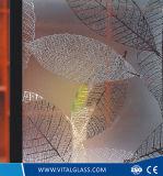 Tempered en verre repéré acide de 4-10mm figure/glace de configuration