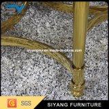 Frame de aço do ouro com a tabela desobstruída do lado do vidro Tempered