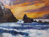 Pittura a olio Handmade di vista sul mare su tela di canapa