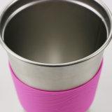 tazza a parete semplice dell'acciaio inossidabile 10oz con il manicotto del silicone
