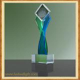 Estrella Cinco-Acentuada de encargo del trofeo de cristal en blanco