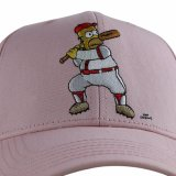 Casquette de baseball intéressante de dessin animé de panneau du rose 6 de qualité avec la broderie plate