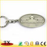 싱가포르 싱가포르의 의회와 가진 여행자 기념품 금속 열쇠 고리