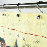 Het Gordijn van de Douche van de Stof van de Polyester van 100% met het Ontwerp van de Douane voor Badkamers
