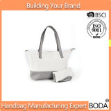 2 Part Set White and Grey Canvas Promotional Tote Bag (BDY-1709072)