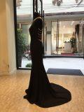 Vestido de noite elevado da sereia do preto do cetim do colar