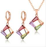 925銀製の宝石類の一定の多彩なイヤリングの吊り下げ式のネックレスの卸売の簡単な正方形の方法宝石類